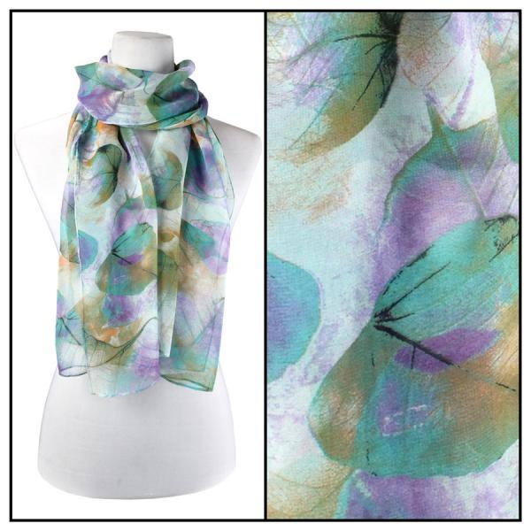 Silky Dress Scarves Leaves - Teal -