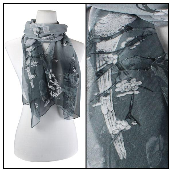 Silky Dress Scarves Bird Print - Grey MB -