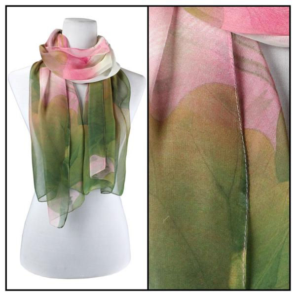 Silky Dress Scarves Lotus - Pink-Green -