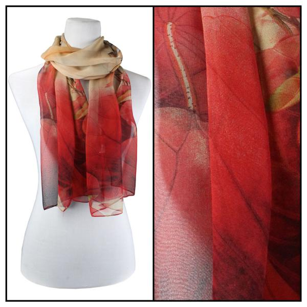 Silky Dress Scarves Lotus - Red-Gold -