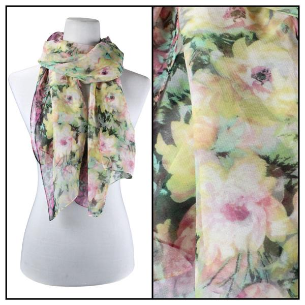 Silky Dress Scarves Floral Splatter - 07 -