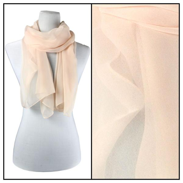 Silky Dress Scarves Solid Peach S01 -