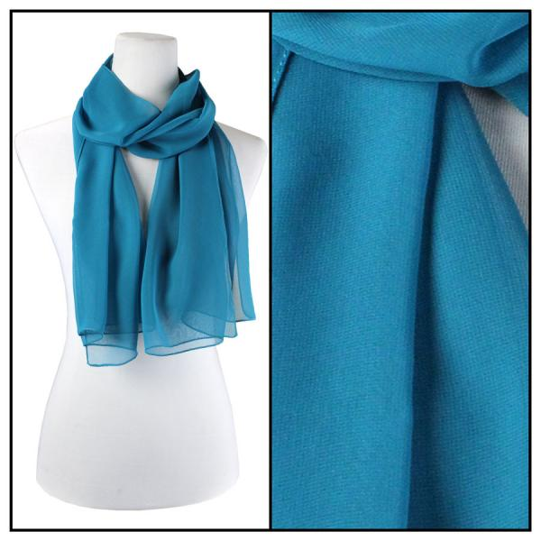 Silky Dress Scarves Solid Teal S02 -