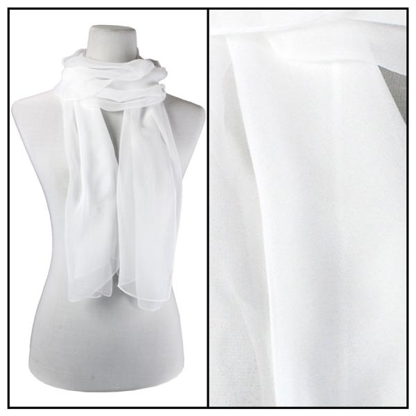 Silky Dress Scarves Solid White S03 -