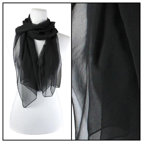 Silky Dress Scarves Solid Black S04 -