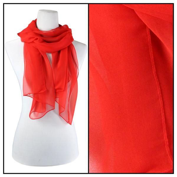 Silky Dress Scarves Solid Red S06 -
