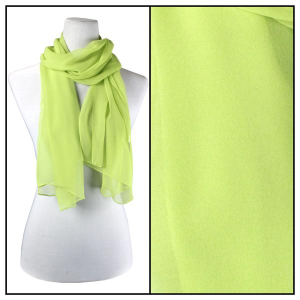 Silky Dress Scarves Solid Leaf Green S07 -