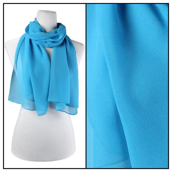 Silky Dress Scarves Solid Turquoise S08 -