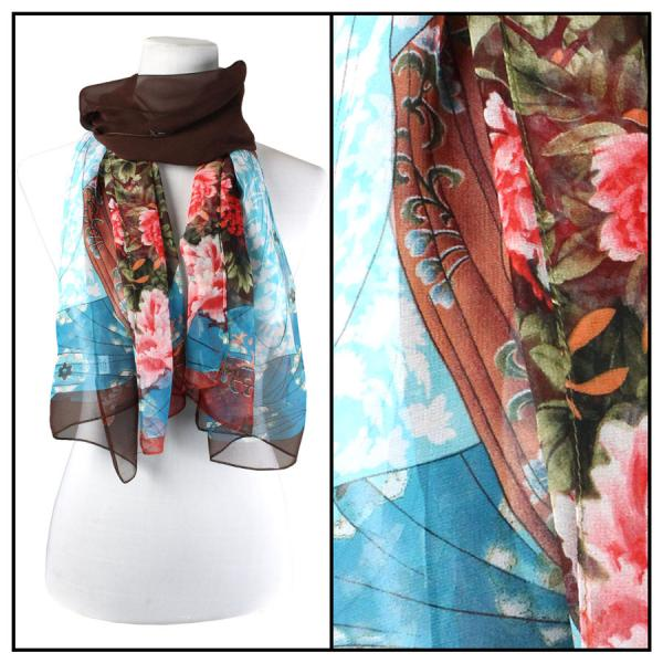Silky Dress Scarves Geisha - Brown -