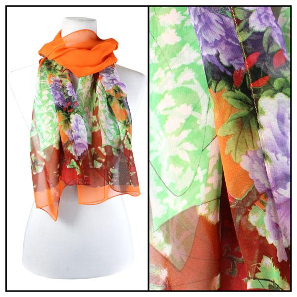 Silky Dress Scarves Geisha - Orange -