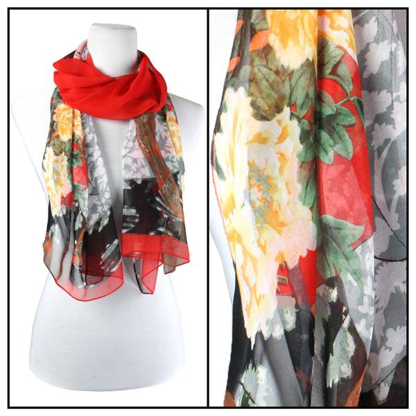 Silky Dress Scarves Geisha - Red -