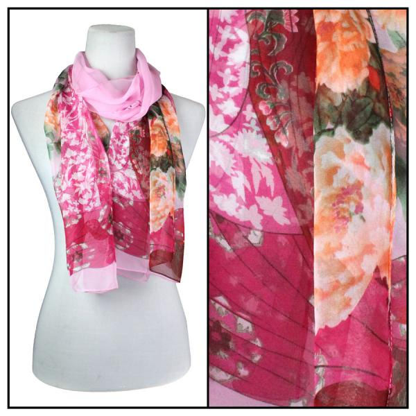 Silky Dress Scarves Geisha - Pink -
