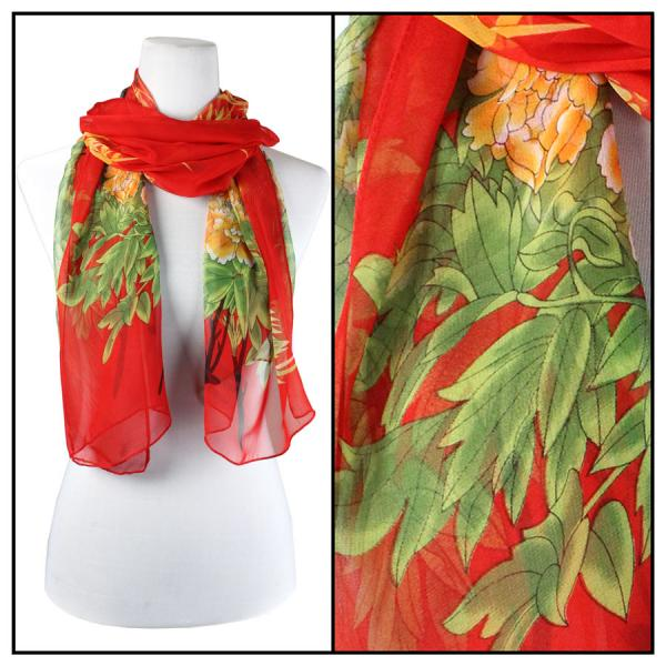 Silky Dress Scarves Peacock - Red -