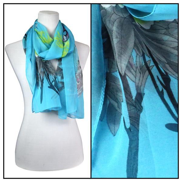 Silky Dress Scarves Peacock - Turquoise -