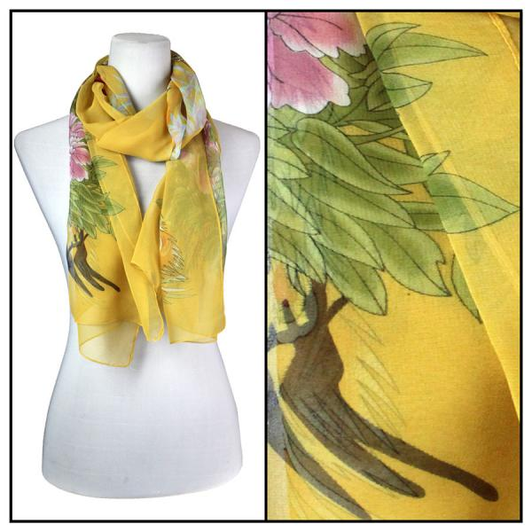 Silky Dress Scarves Peacock - Gold -