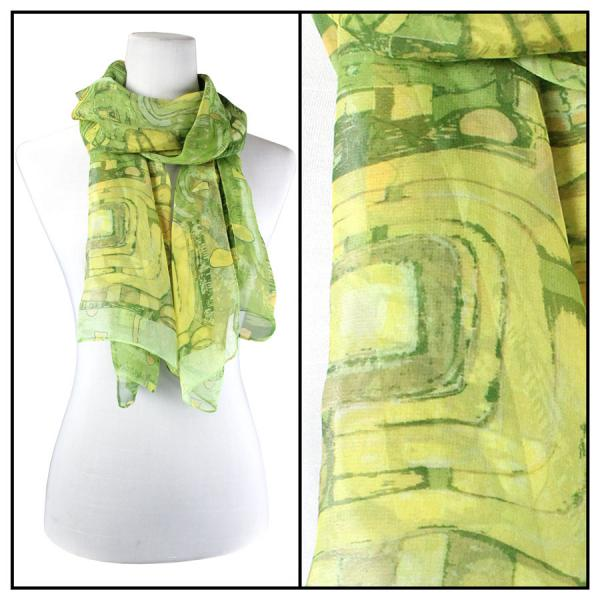 Silky Dress Scarves Abstract - Green MB -