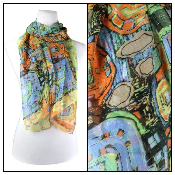 Silky Dress Scarves Abstract - Orange  -