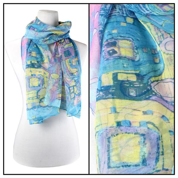 Silky Dress Scarves Abstract - Blue  -