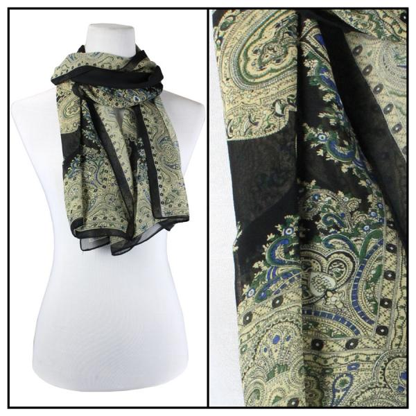 Silky Dress Scarves Paisley Border - Black -