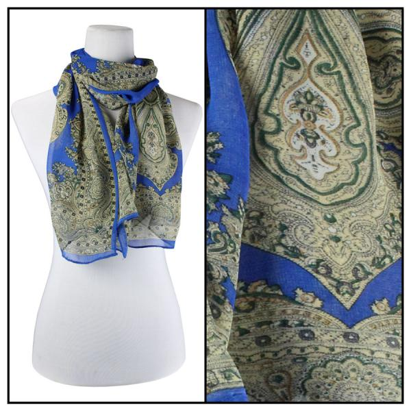 Silky Dress Scarves Paisley Border - Royal -