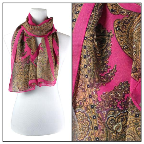Silky Dress Scarves Paisley Border - Hot Pink -