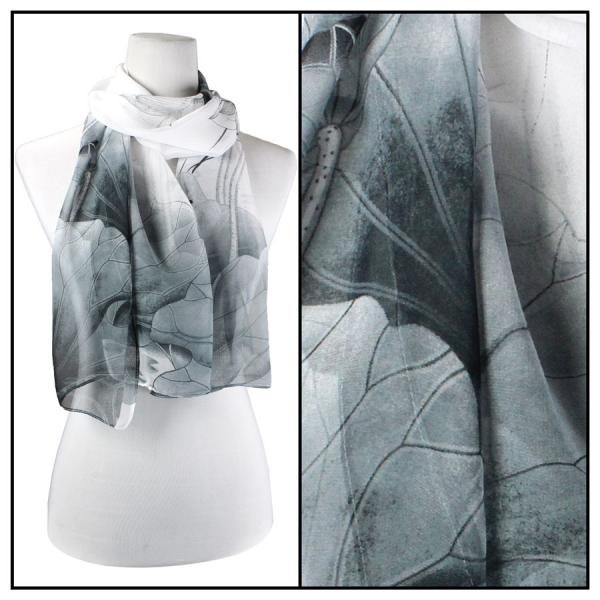 Silky Dress Scarves Lotus - Grey-White -