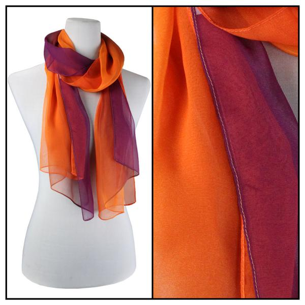 Silky Dress Scarves Tri-Color - Purple-Orange-Pumpkin TC02 -