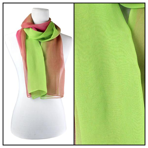 Silky Dress Scarves Tri-Color - Magenta-Mauve-Lime TC04 -