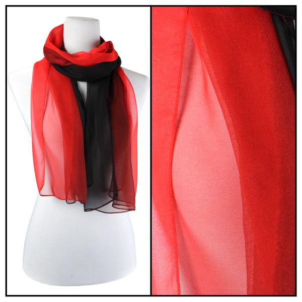 Silky Dress Scarves Tri-Color - Black-Maroon-Red TC05 -