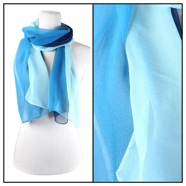 Silky Dress Scarves Tri-Color - Blues TC09 -