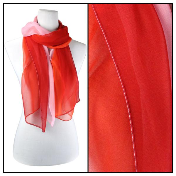 Silky Dress Scarves Tri-Color - Red-Scarlet-Pink TC10 -