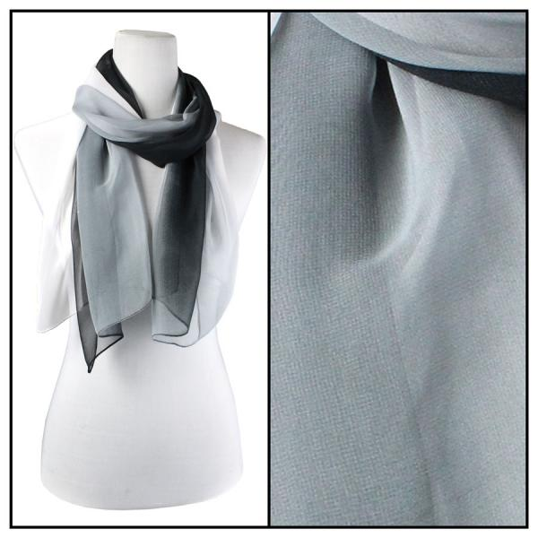 Silky Dress Scarves Tri-Color - Black-Grey-White TC11 -