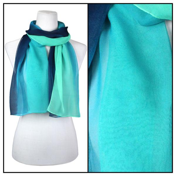 Silky Dress Scarves Tri-Color - Navy-Blue-Seafoam TC12 -
