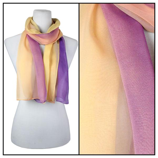 Silky Dress Scarves Tri-Color - Purple-Peach-Gold TC13 -