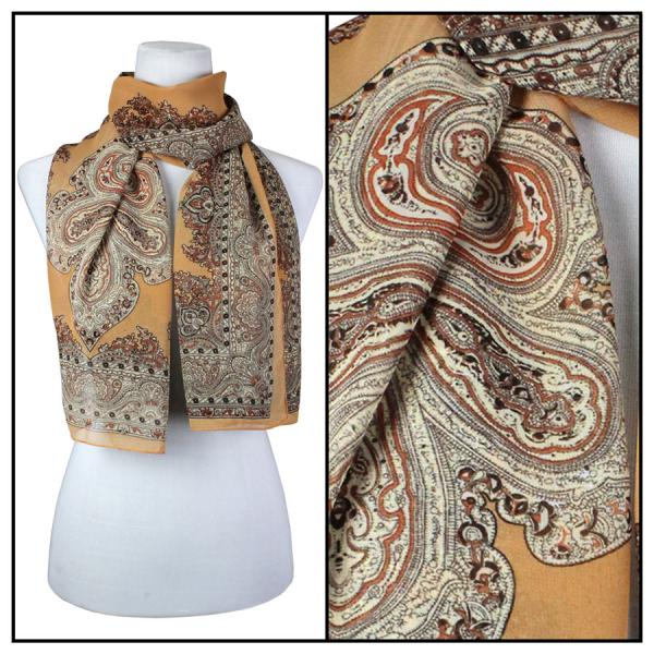 Silky Dress Scarves Paisley Border - Tan -