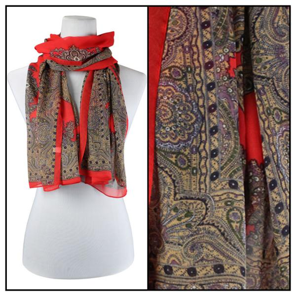 Silky Dress Scarves Paisley Border - Red -