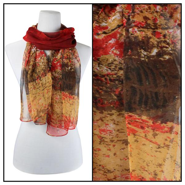 Silky Dress Scarves Trees - Red -