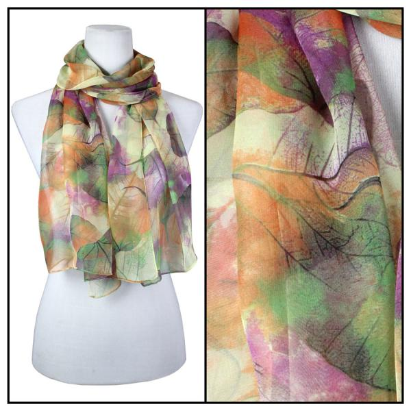 Silky Dress Scarves Leaves - Green -