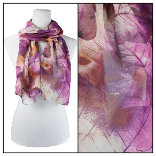 Silky Dress Scarves Leaves - Purple -