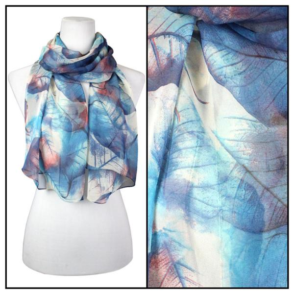 Silky Dress Scarves Leaves - Blue -