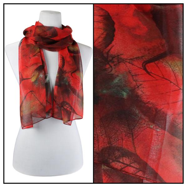 Silky Dress Scarves Leaves - Red -