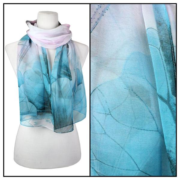 Silky Dress Scarves Lotus - Teal-Pink -