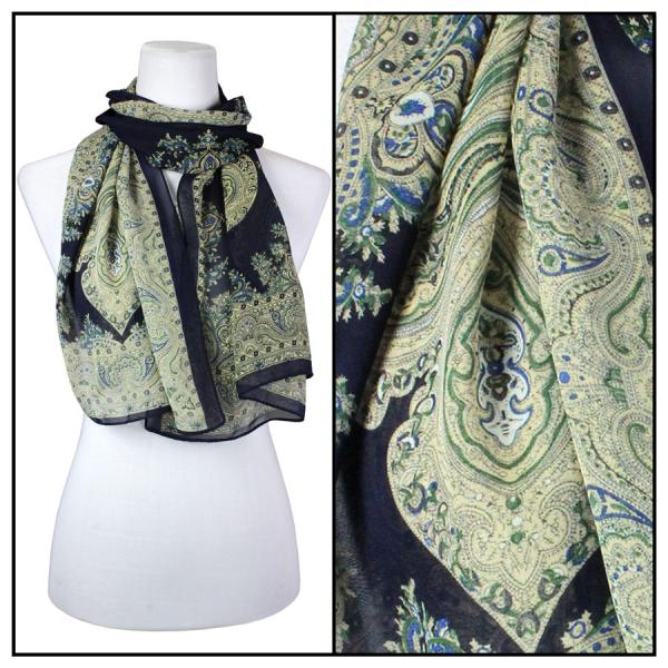 Silky Dress Scarves Paisley Border - Midnight -
