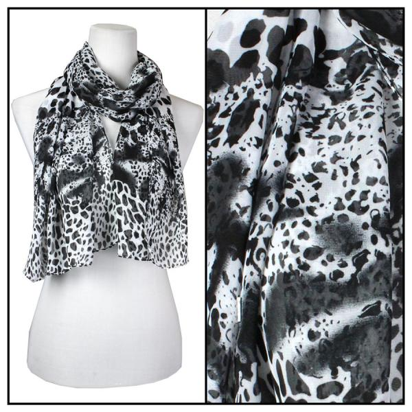 Silky Dress Scarves Animal Print - Black -