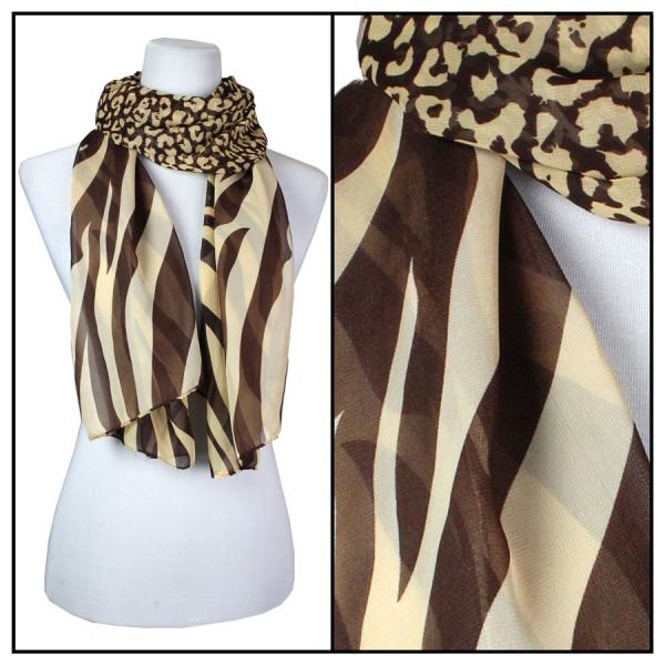 Silky Dress Scarves Zebra-Cheetah - Brown-Tan -