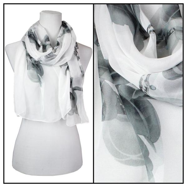 Silky Dress Scarves Sparrows - White (MB) -