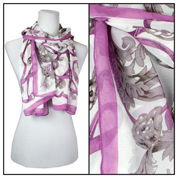 Silky Dress Scarves Victorian - Purple -