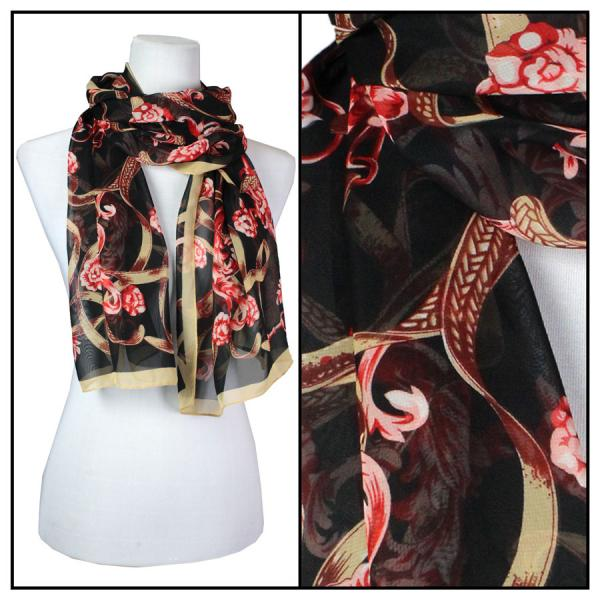 Silky Dress Scarves Victorian - Taupe MB -