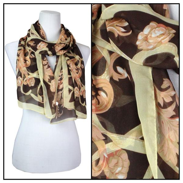 Silky Dress Scarves Victorian - Tan -