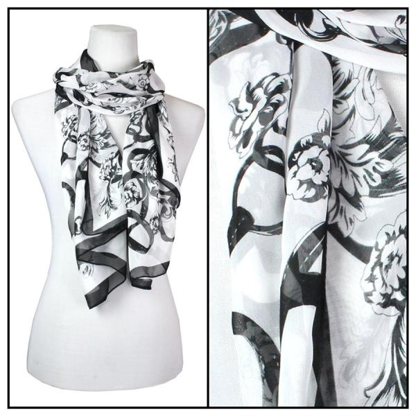 Silky Dress Scarves Victorian - Black MB -